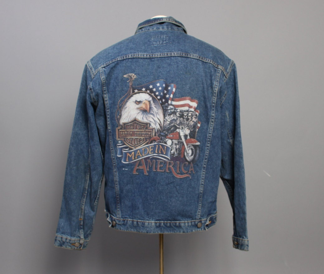 80s Harley Davidson Jean Jacket American By Toughluckvintage