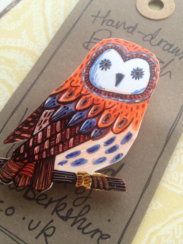 Brooch. Handdrawn Illustrated Owl Brooch