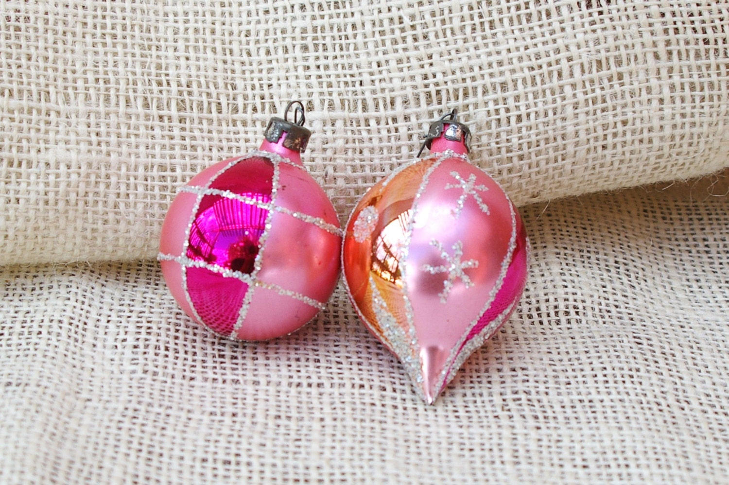 Pink vintage ornaments- set of 2 - TrellisLaneVintage