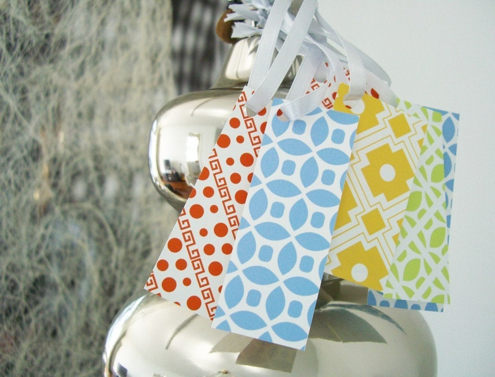 Set of 20 Gift Tags - Geometric, modern patterns. Tags for Scrapbooking, Cards, Gifts and More