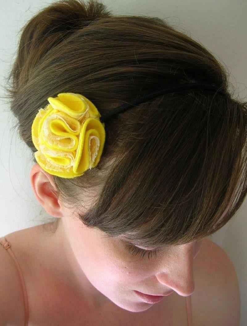 Lemon Chiffon - Felt and Lace Headband