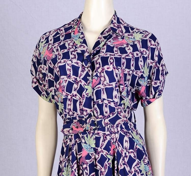 1940s Navy Rayon Novelty Print Swing Dress M Vintage