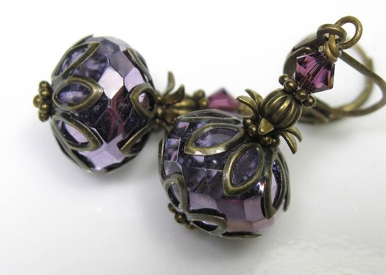 Metallic Violet Czech Glass Vintage Style Earrings