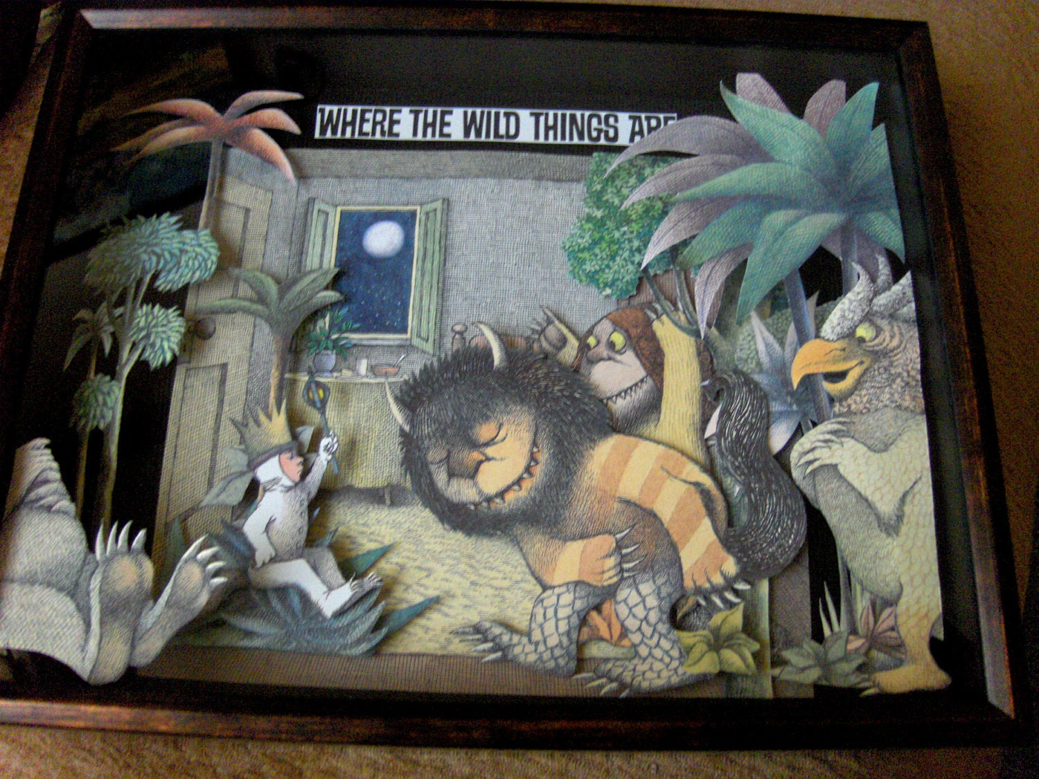 SALE - Where The Wild Things Are... - Collage of Rescued Illustrations - Altered Book Shadow Box Framed - FREE SHIPPING