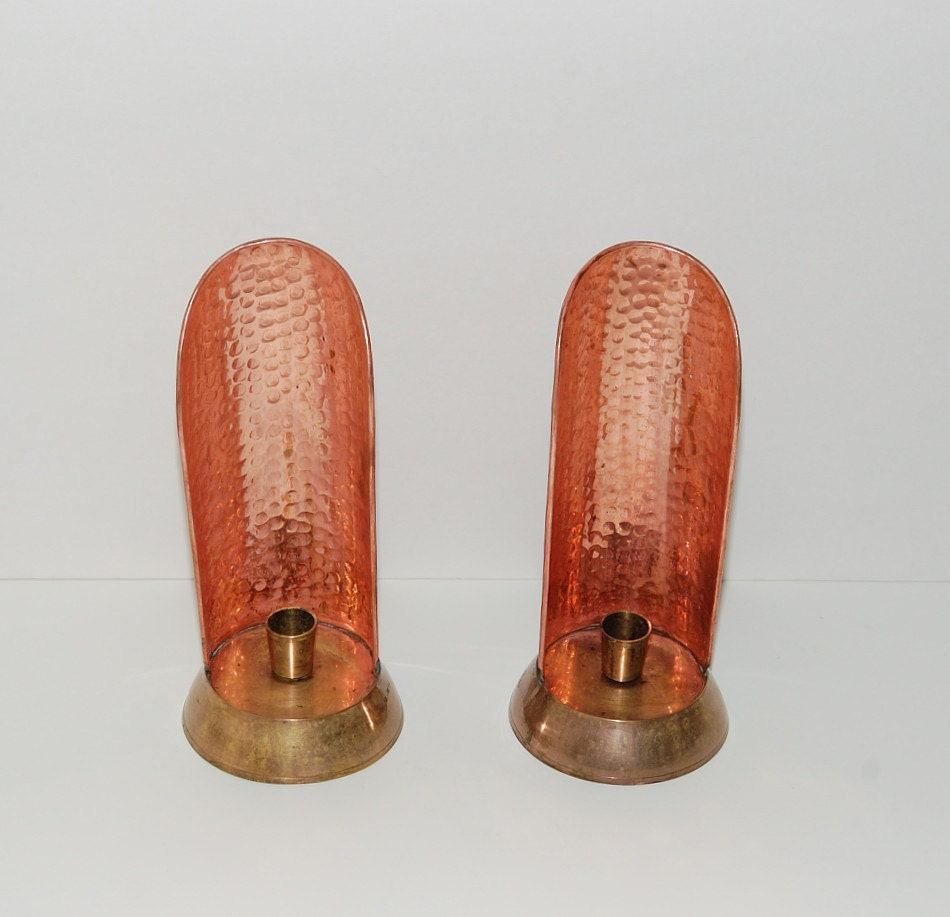 Hammered Copper Wall Sconces : Vintage Hammered Copper & Brass Wall Sconces by Abundancy on Etsy