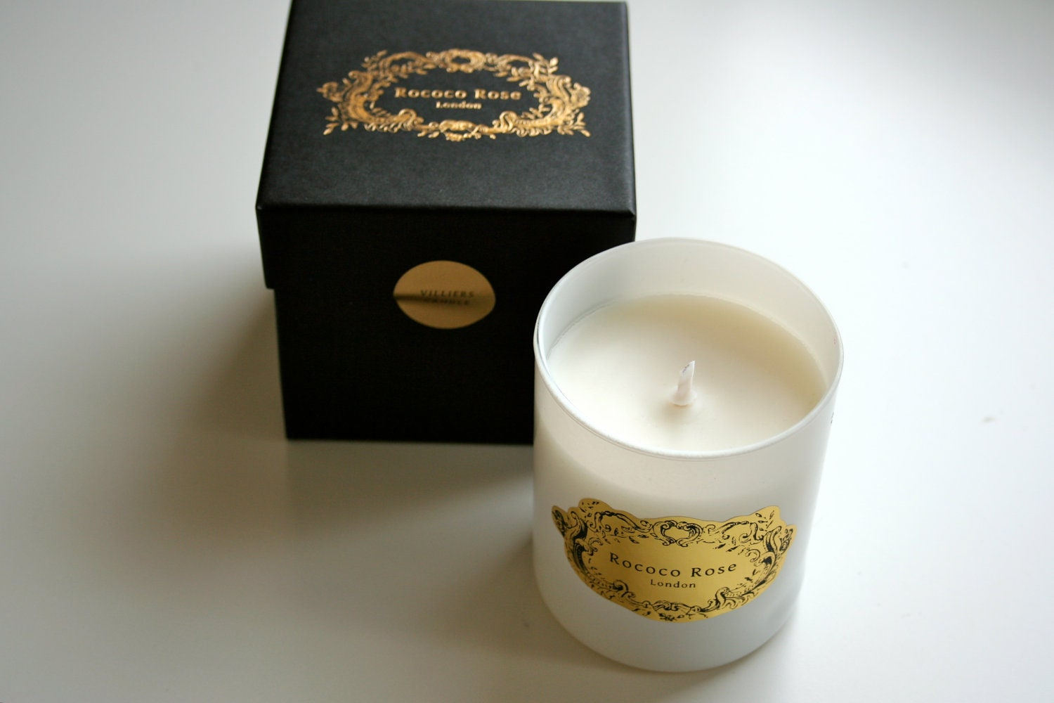Villiers Handmade Soy Container Candle - Mimosa Scent - RococoRoseLondon