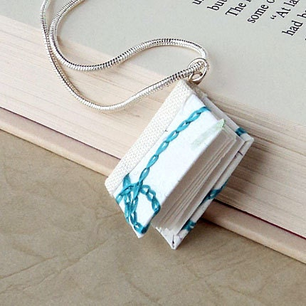 White and Blue Embroidery Book Pendant