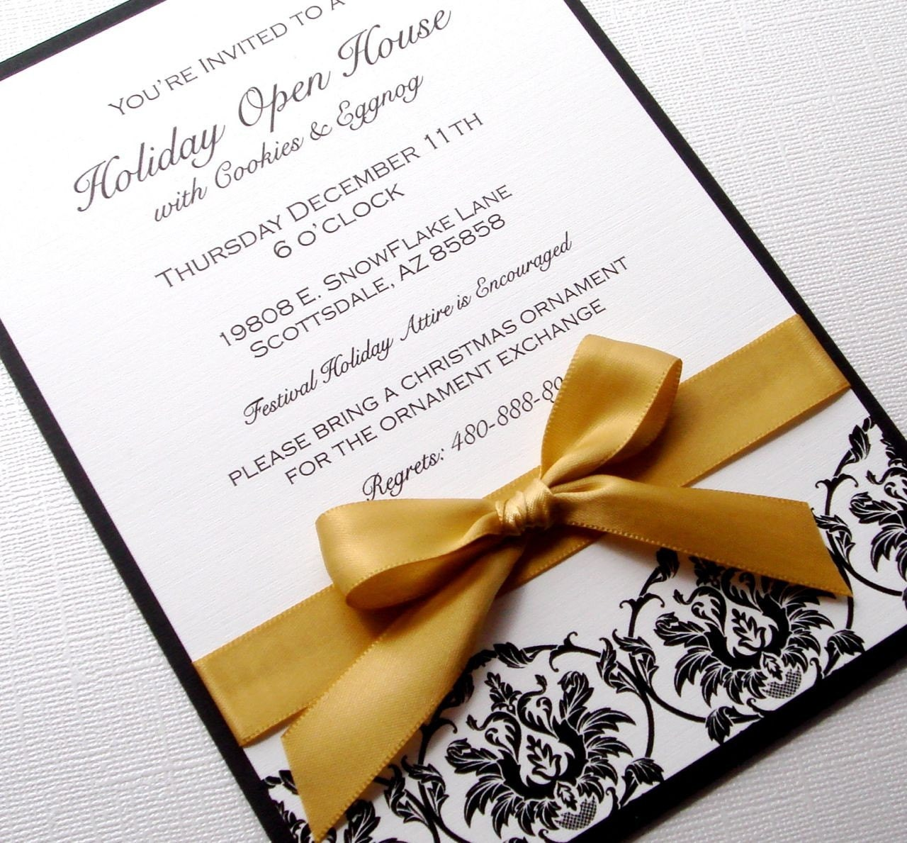DAMASK HOLIDAY OPEN HOUSE INVITATIONS - 10 PACK