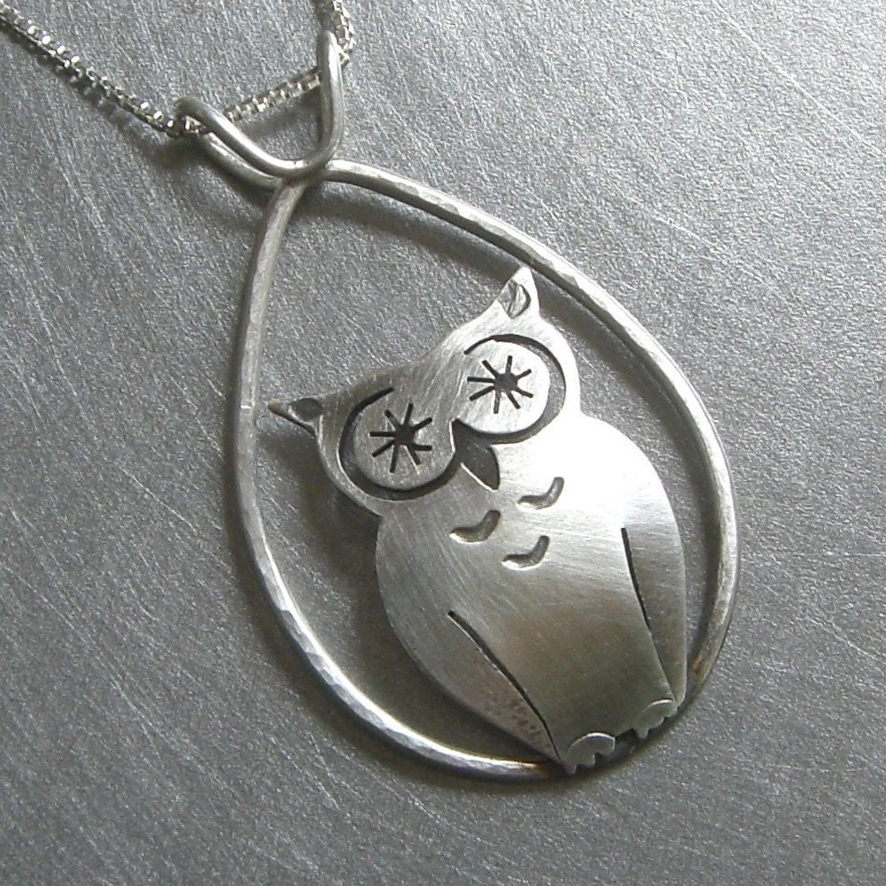 silver owl pendant by Beth Millner