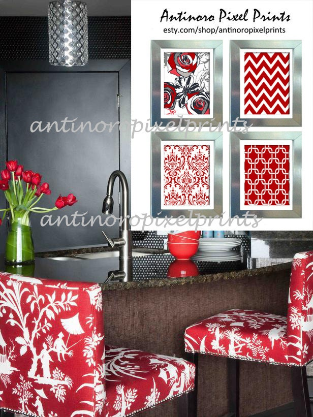 Digital kitchen wall art red greys black by for Red kitchen wall art
