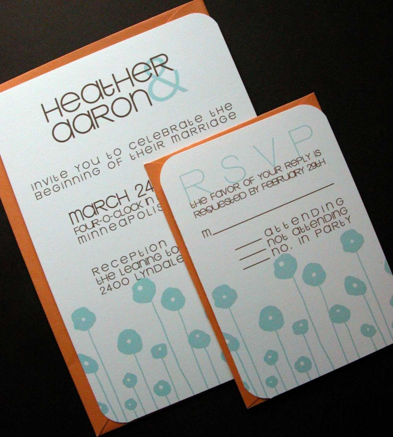 Wedding Invitation and RSVP set-Modern Aqua Poppies with Chocolate Text and Orange Poppy Envelopes