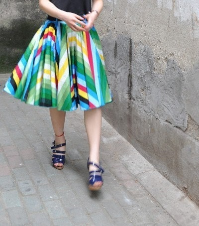 50s Audrey Hepburn Rainbow Red Green Yellow White Cotton Pleated Full Circle Skirt E FREE SHIPPING International