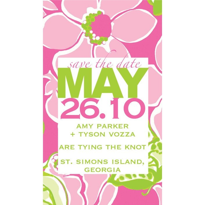 Save the Date Magnets for the Lilly Pulitzer lover