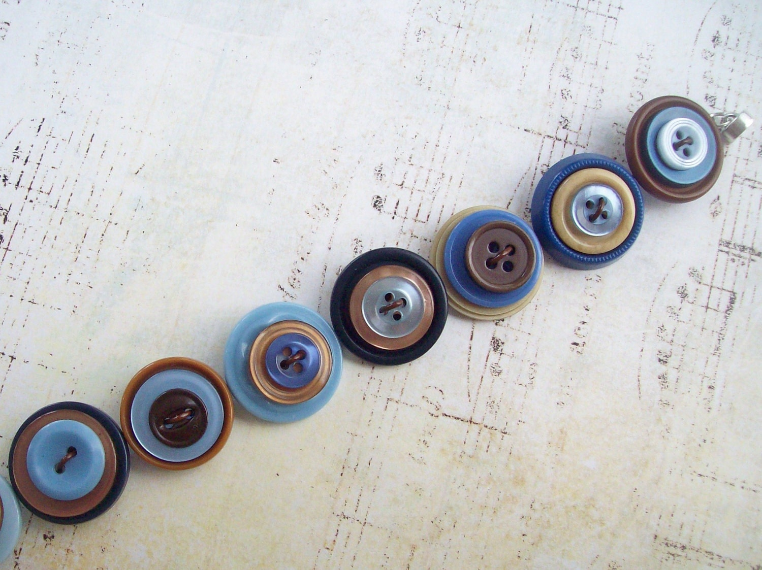 Repurposed Vintage Button Bracelet with Magnetic Clasp - DixiesNightOwl