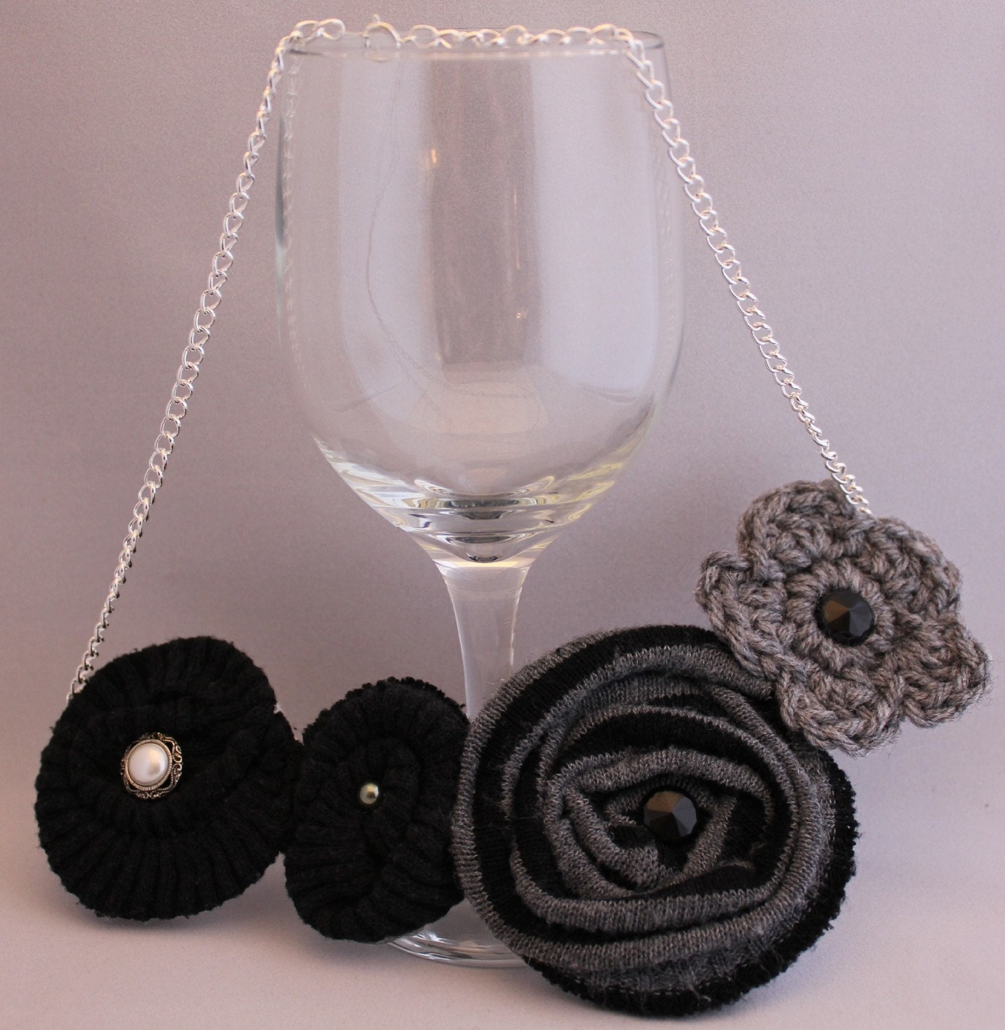 Black & Gray Soft Rosette Necklace
