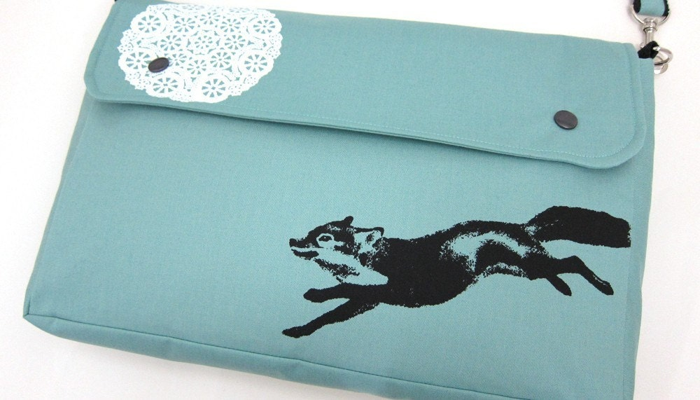 Messenger Bag in Robins Egg Blue with a Fox and Lace