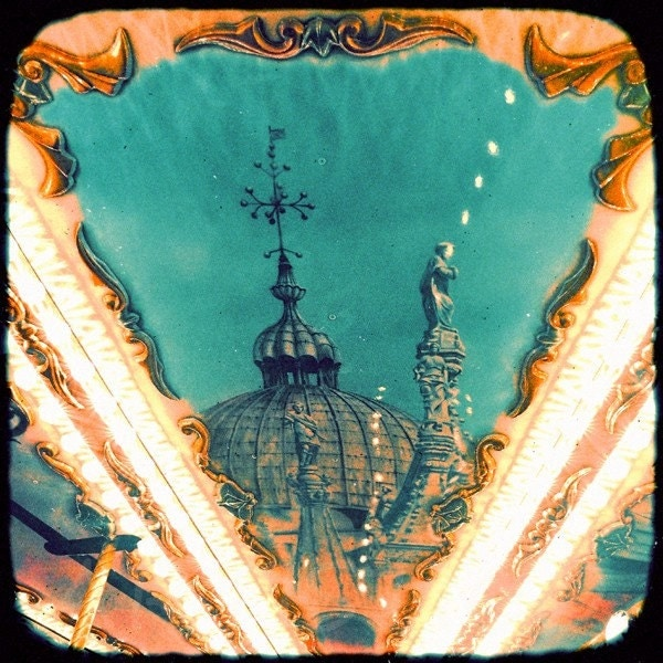 Original fine art ttv photograph on canvas vintage colors old Carousel print large cotton canvas poster NO12 by artistico Handmade Wall Decor