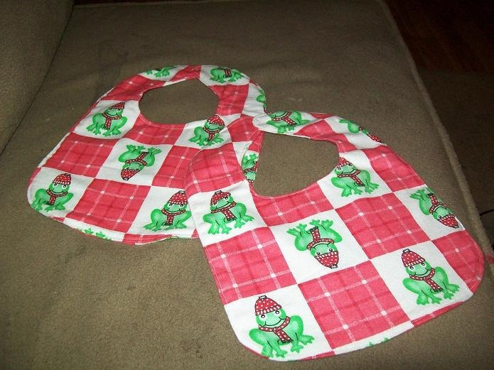 Baby Bibs in Christmas Frog Design  Set of 2