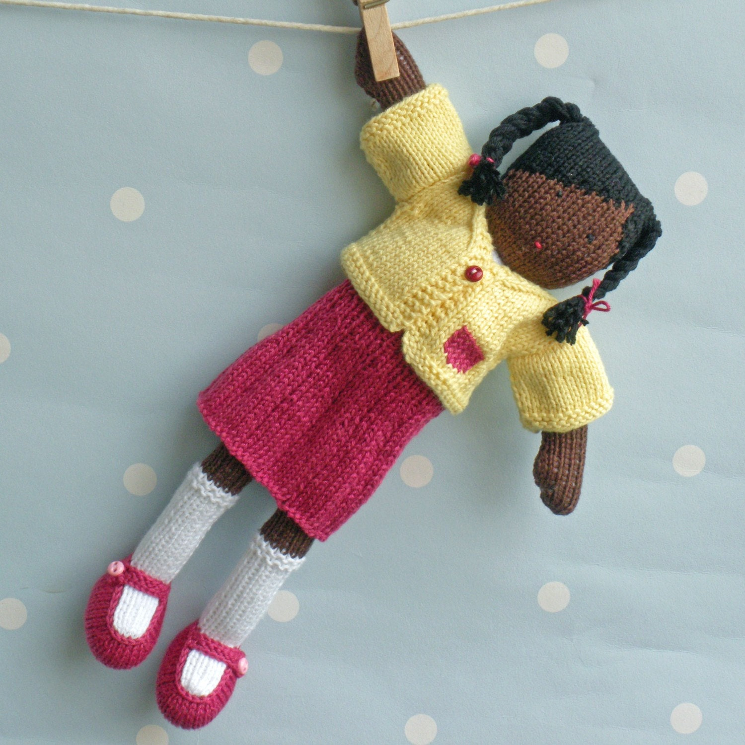 Kora - hand knitted doll, traditionally inspired and unique - 12 inches tall