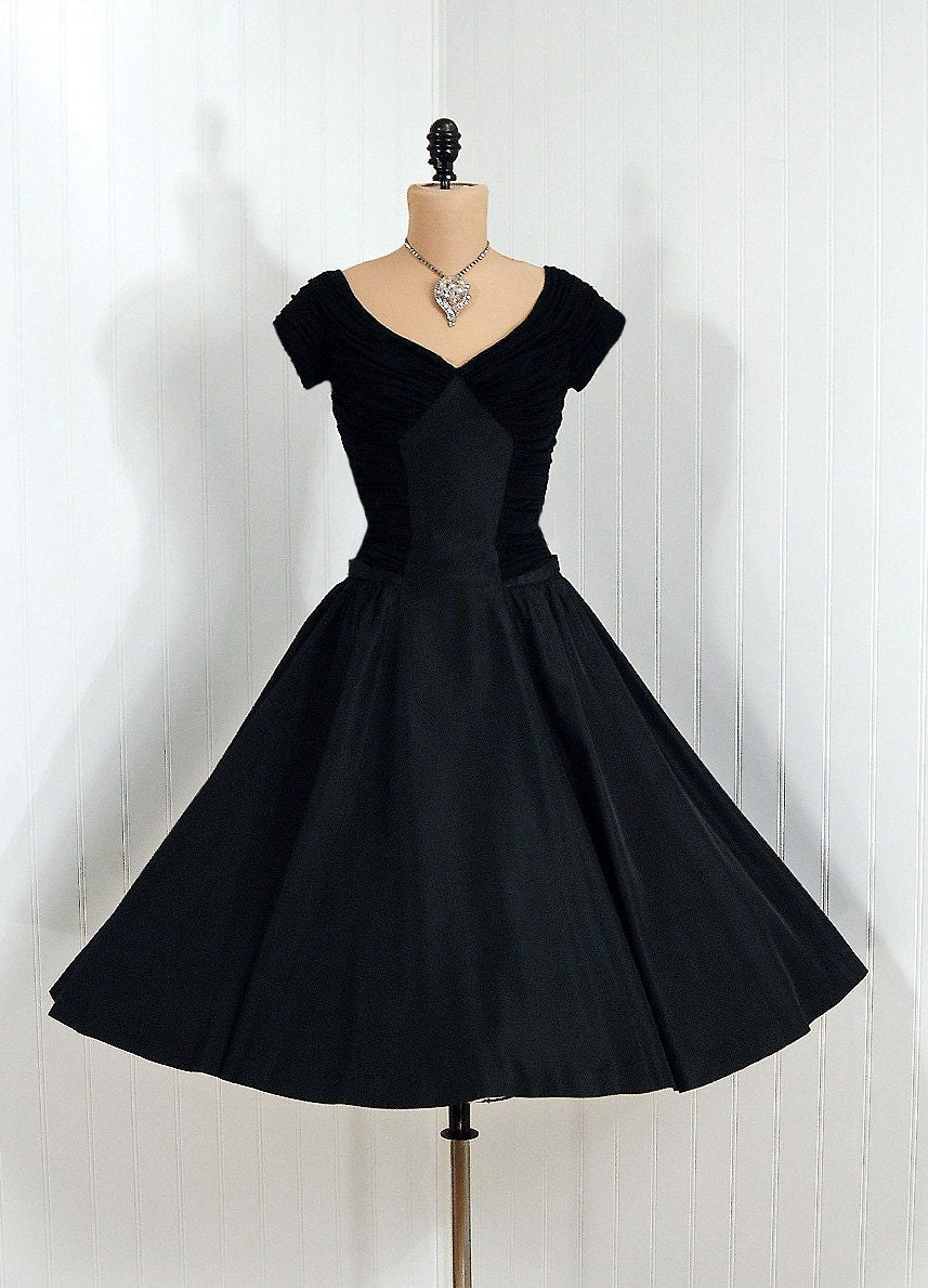 1950's Vintage Heavily-Ruched Black Silk-Jersey and Taffeta-Couture Bombshell Low-Plunge Rockabilly Back-Bow Circle-Skirt Wedding Party Cocktail Party Dress