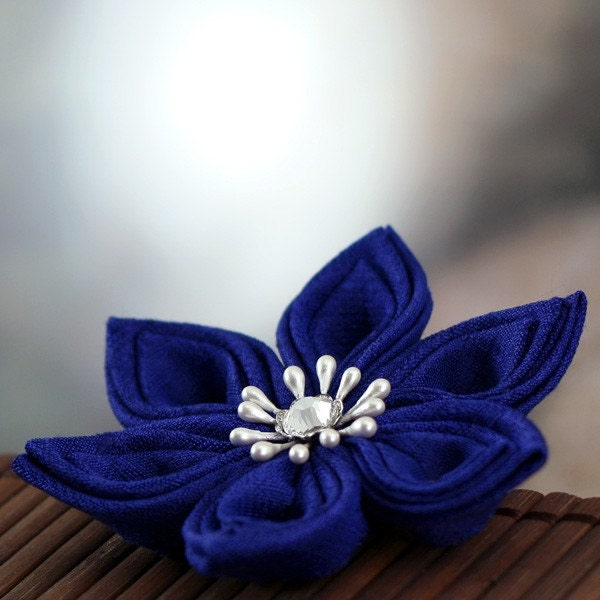 Sapphire Star - Tsumami Style Silk Flower Brooch