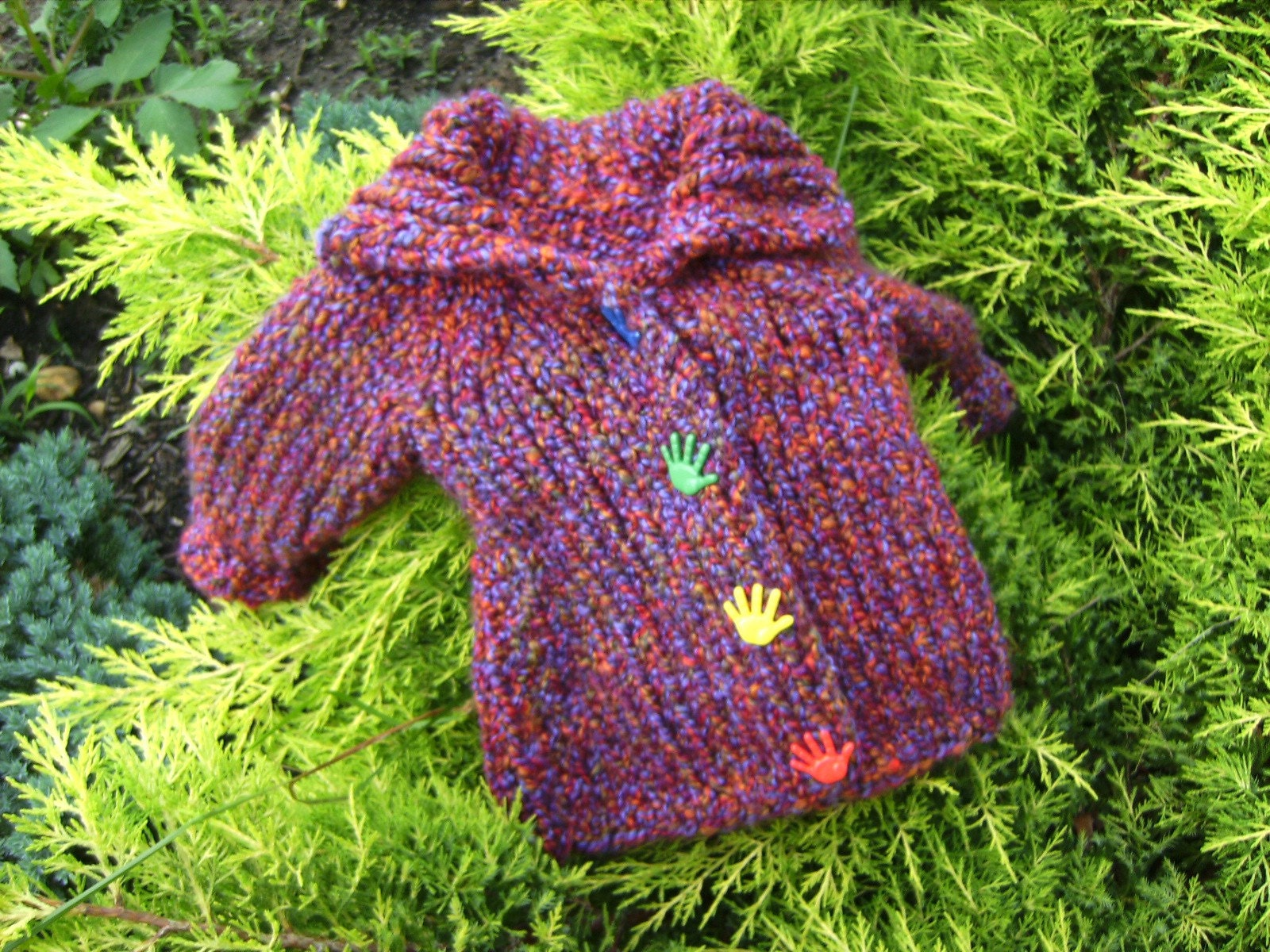Purple Hand Knit Cardigan for Toddler Boy or Girl 18 Months and Older