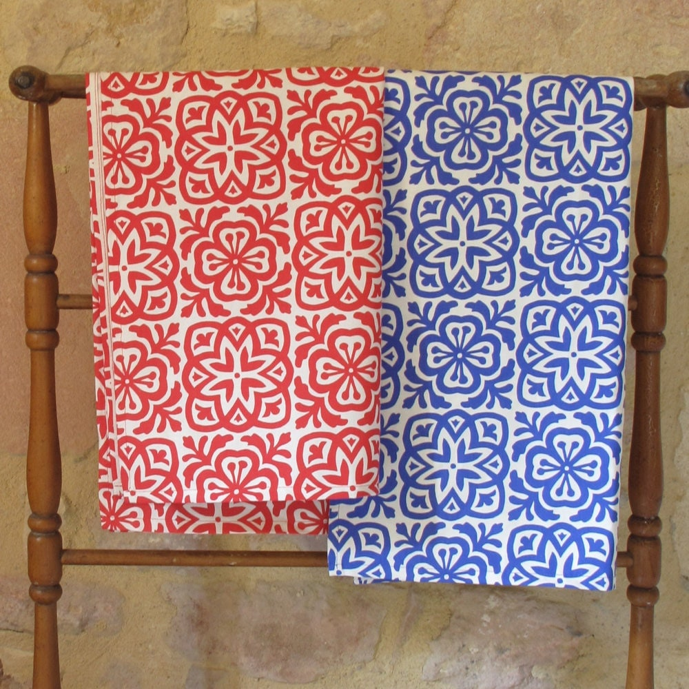 Moroccan Tile Tea Towel on Organic Cotton, Blue or Red