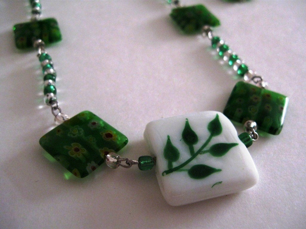 Green and White Beaded necklace and earrings