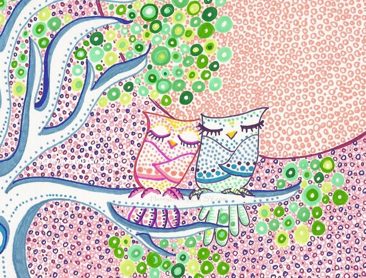 Owl Drawing - Morning Light Snuggles. 2 Owls on a spring morning.