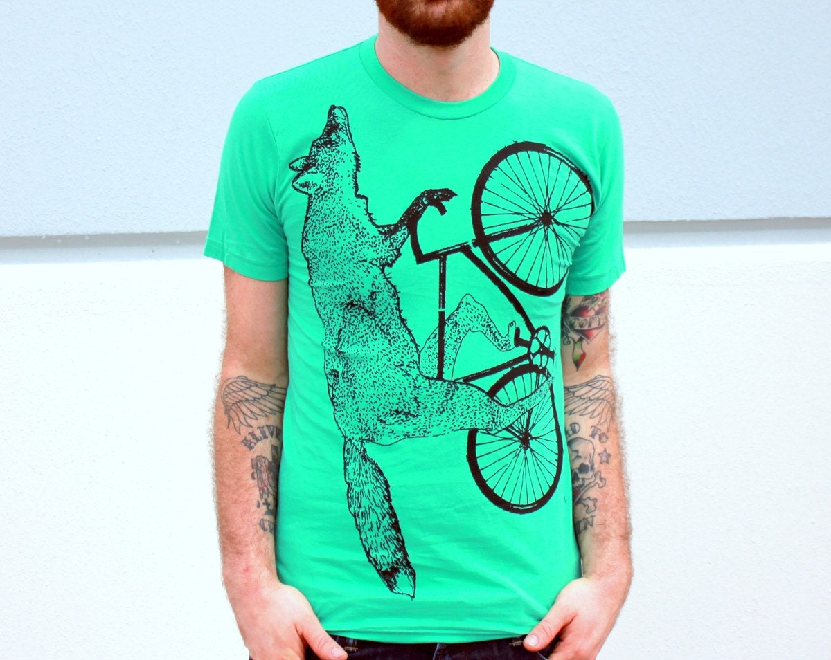 MENS BIKE Shirt Fox on a BICYCLE Mint Green Unisex  American Apparel TShirt