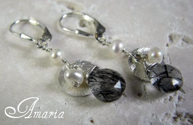 Tourmalated quartz and pearl earrings by amaria on Etsy from etsy.com