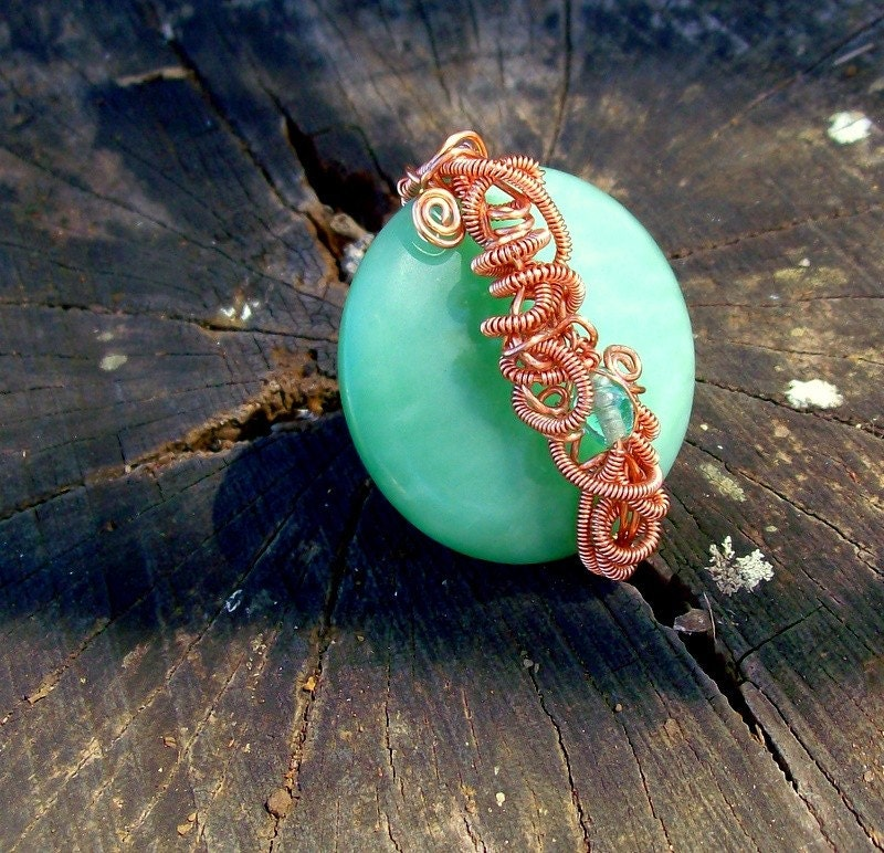 Autumn Green Glass Copper Wrapped Ring - Bohemian Jewelry - Chunky - stoneandbone