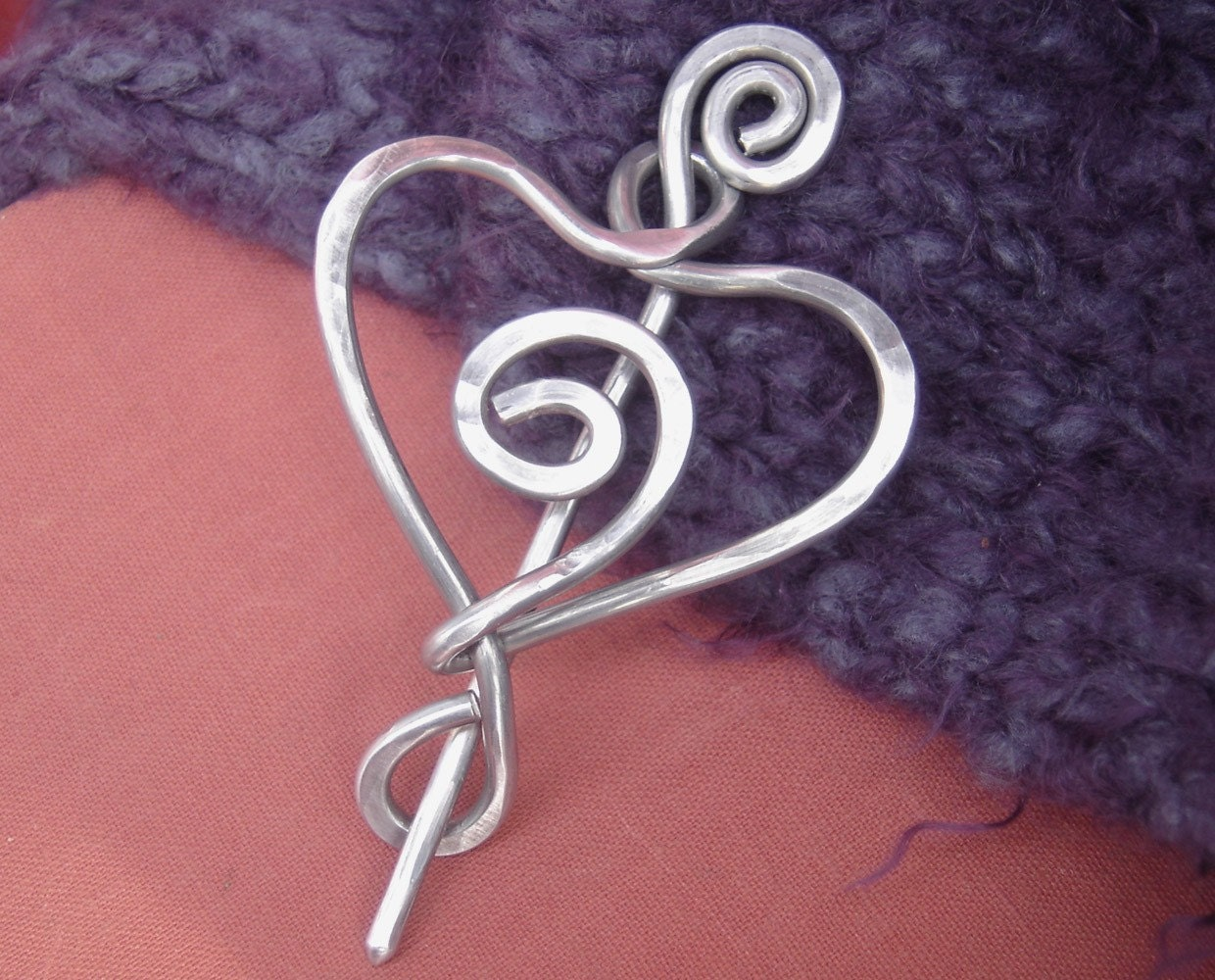 Spiral Love Heart Light Weight Aluminum Shawl Pin