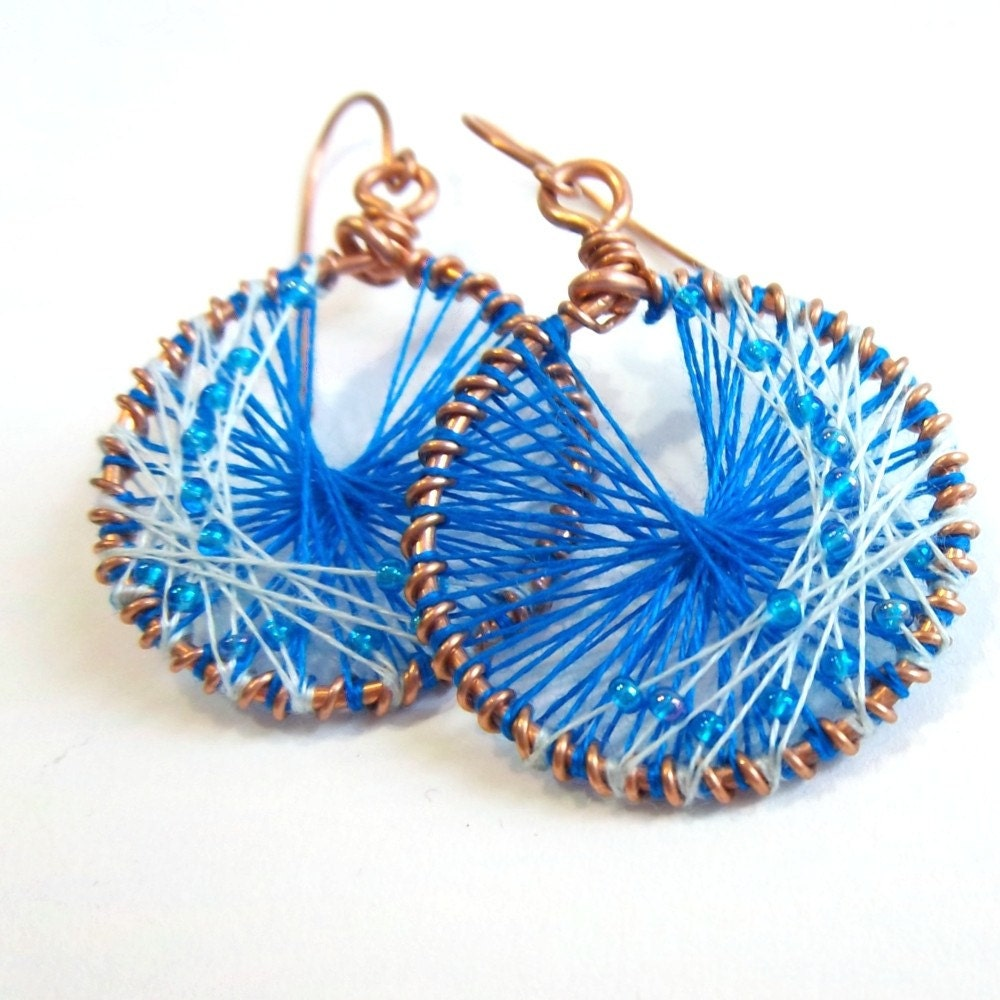 Beaded Peruvian Thread Earrings on Copper by impressionsbyheidi from etsy.com