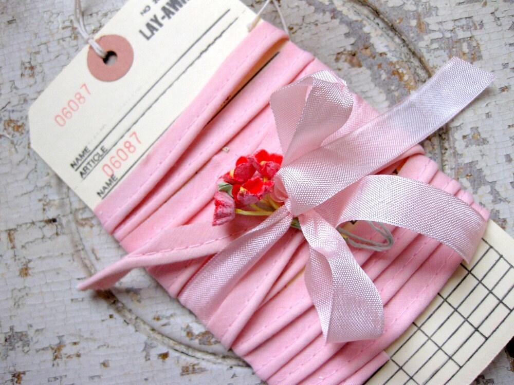 Vintage Pink Cotton Piping on Vintage Layaway Tag