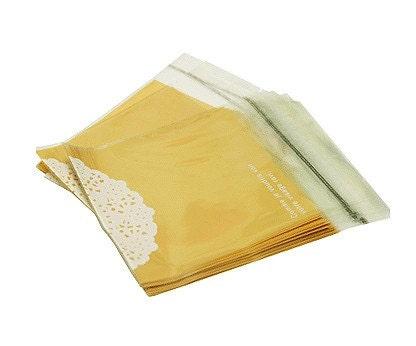 40 Doily Printing Self Sealing Cello Polypropylene Bags - Yellow,130 x 130mm