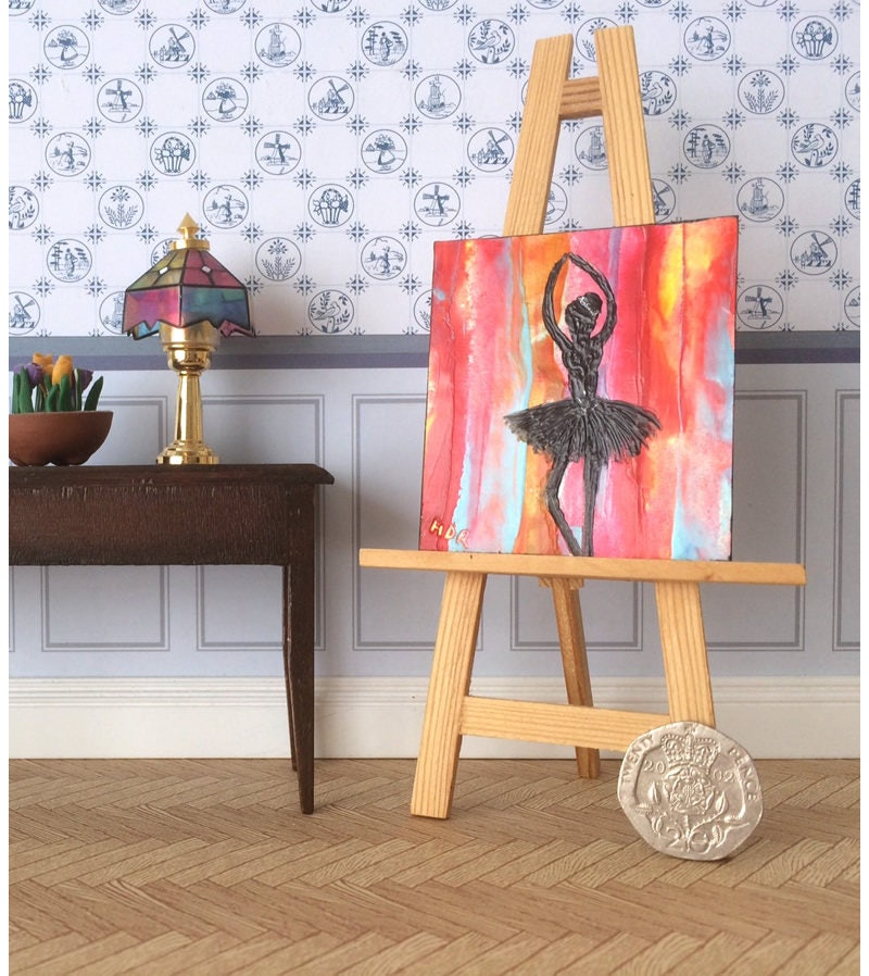 Ballerina Dolls House Painting Silhouette with Fire Ballet abstract background Original Art Dollhouse Picture