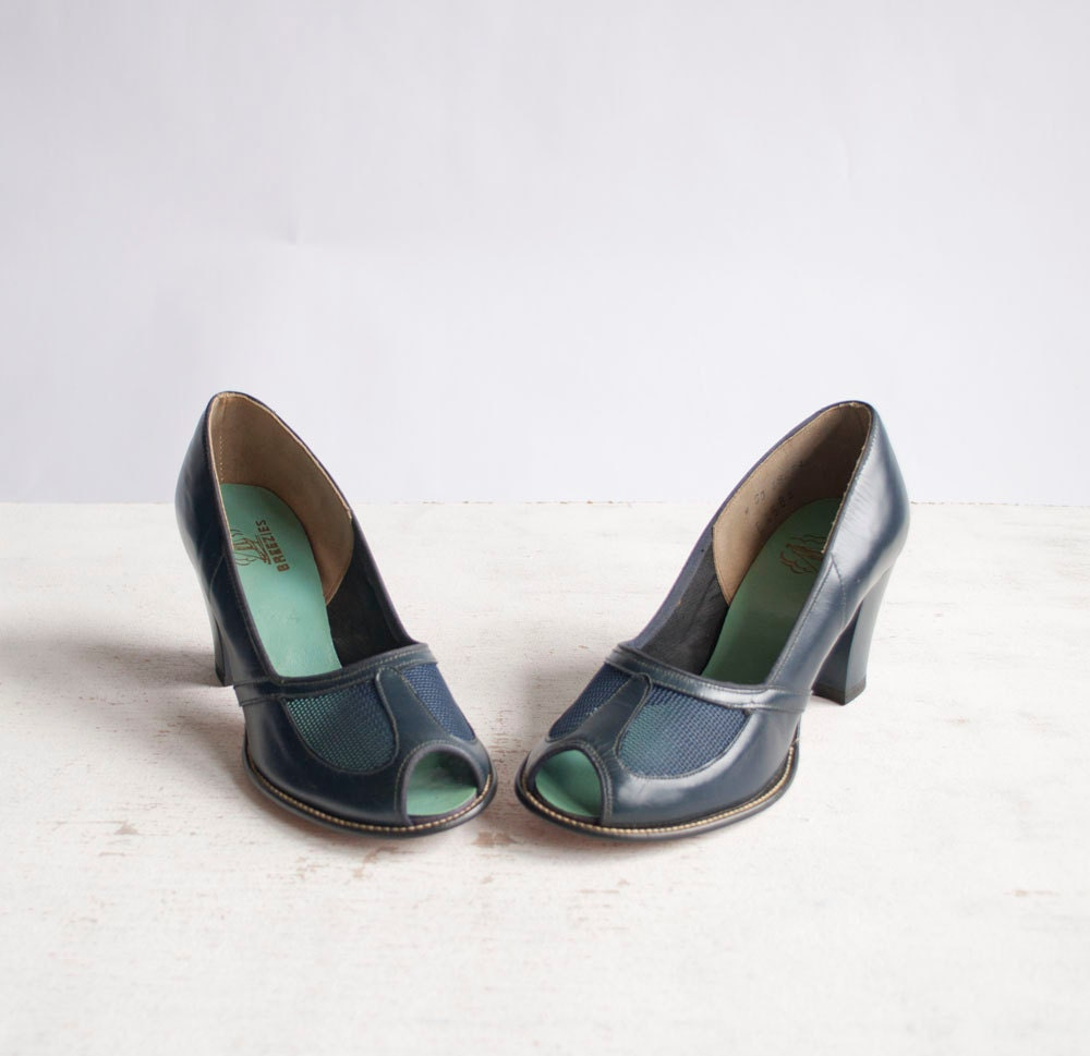 Vintage 40s Mesh Heels / 1940s Peep Toe Pumps by GingerRootVintage from etsy.com