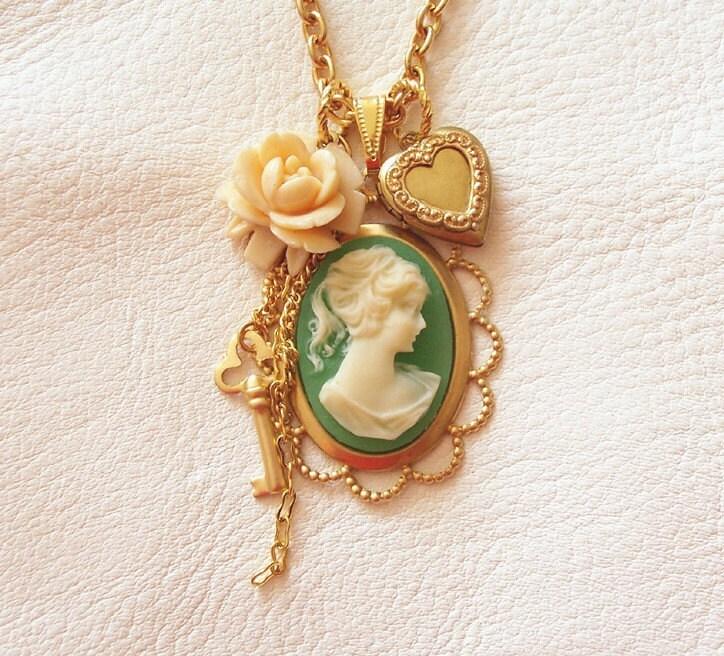 Love Locket Vintage Cameo Necklace