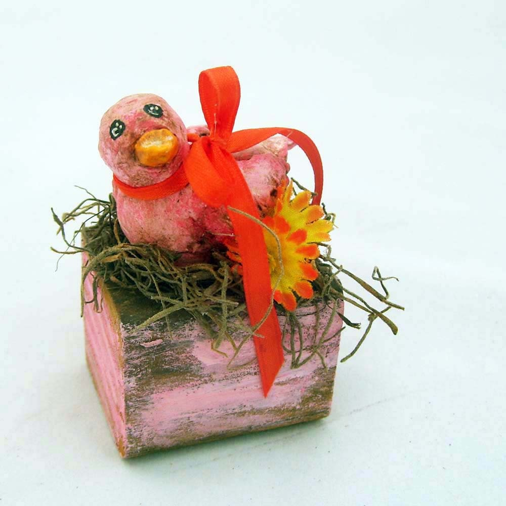 Pink Orange Bird Woodland Block Sculpture Assemblage Paper Clay