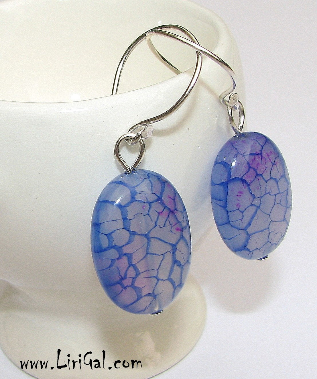 Dragon Viens Agate Sterling Silver Earrings