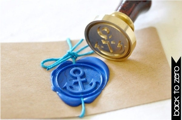 Anchor Nautical Gold Plated Wax Seal Stamp x 1 - BacktoZero