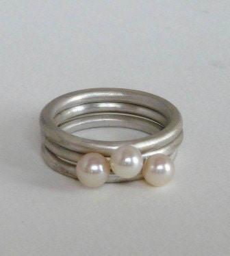 silver ring iris. IRIS Stacked Rings TRIO WHITE