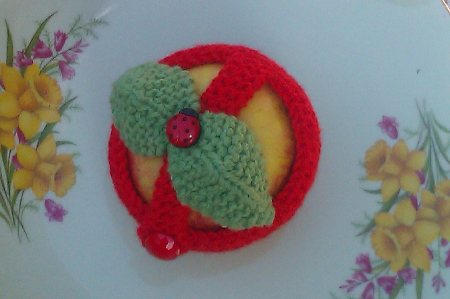 Hand knitted apple cozy.