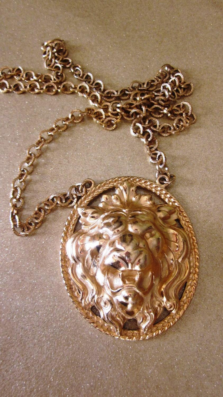 Vintage Napier Necklace Gold Tone Leo Lion Head By