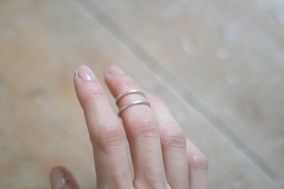 double thin band upper finger ring // sterling silver - WeAreArrow
