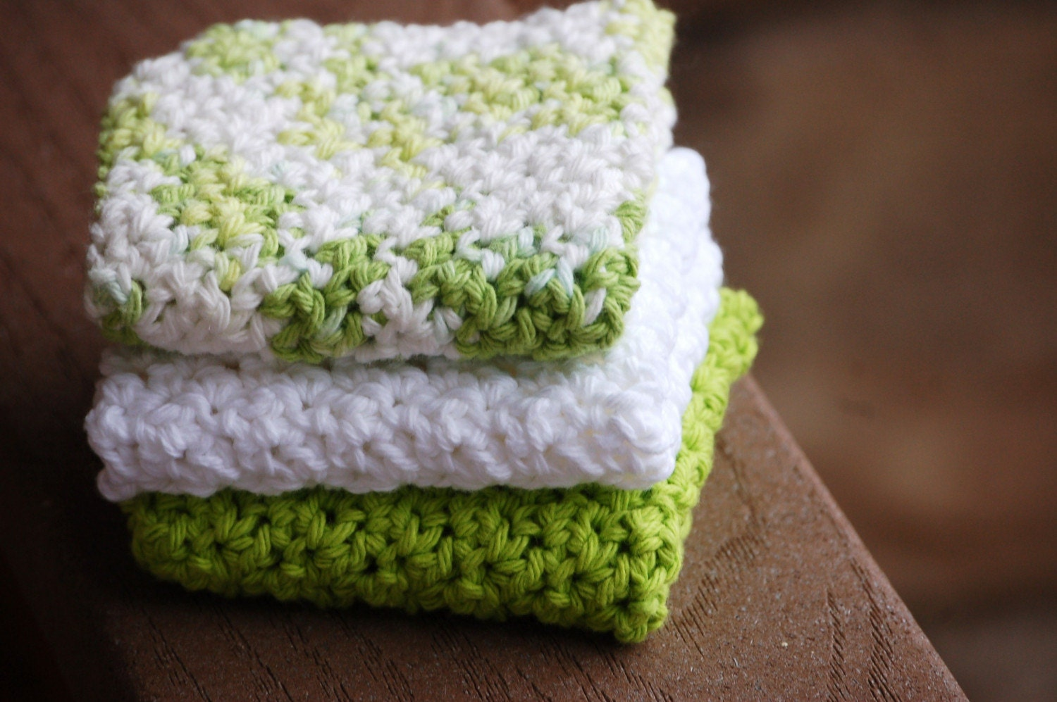 Crochet Dish Cloth - set of 3 SPRING GREEN