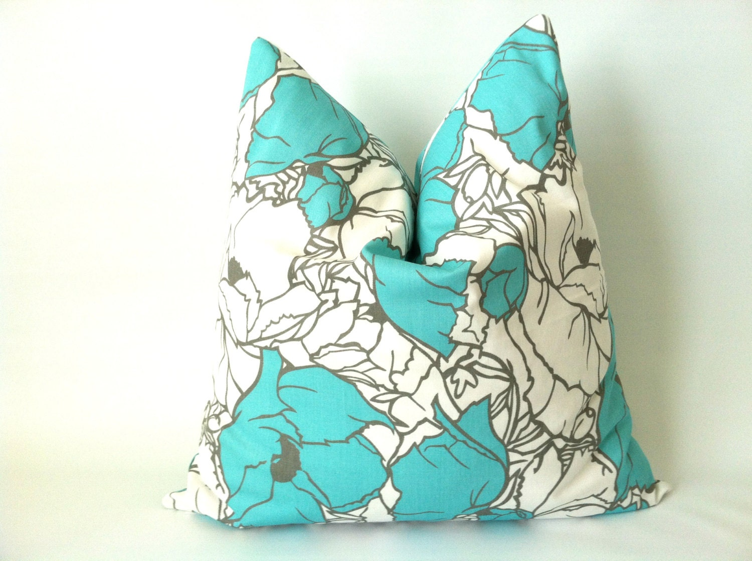 Throw Pillows Tiffany Blue : Aqua Grey Pillow Covers 20 x 20 Set of Two Blue by PillowStyles