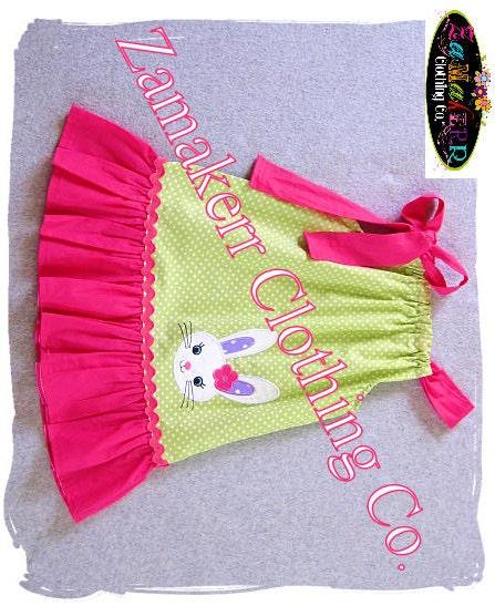 Girl Easter Dress Easter Bunny Pillowcase by
