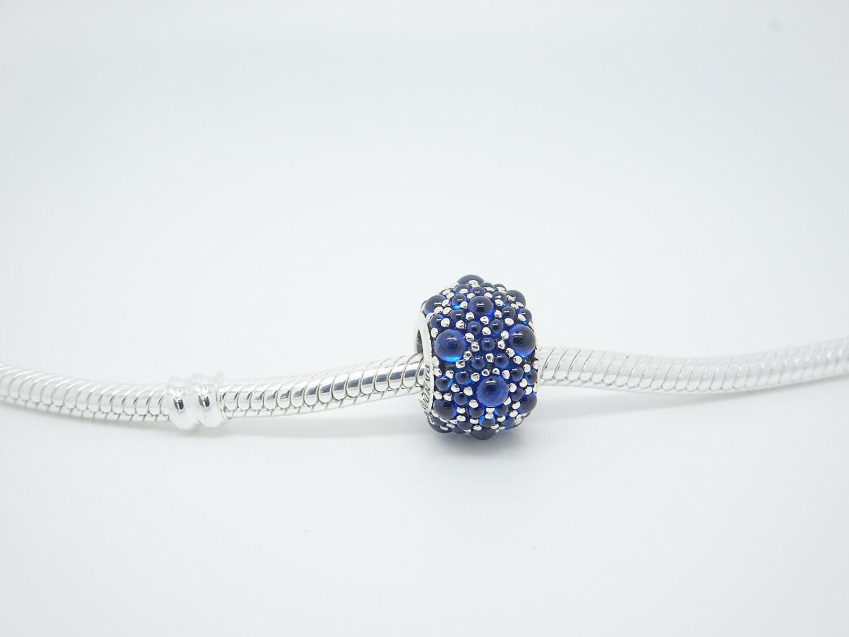 Authentic Pave Blue Cubic Zirconia Sterling Silver charm Fit Pandora Chamilia Charms Bracelets